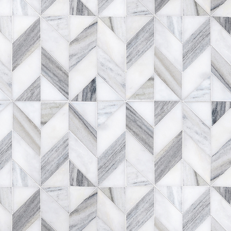 Lancaster Medium, a hand-cut stone mosaic, shown in honed Afyon White and Horizon, is part of the Palazzo™ collection by New Ravenna.