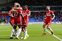 Middlesbrough's Britt Assombalonga celebrates with team mates<br /> <br /> Photographer Juel Miah/CameraSport<br /> <br /> The EFL Sky Bet Championship - Bolton Wanderers v Middlesbrough - Saturday 9th September 2017 - Macron Stadium - Bolton<br /> <br /> World Copyright &copy; 2017 CameraSport. All rights reserved. 43 Linden Ave. Countesthorpe. Leicester. England. LE8 5PG - Tel: +44 (0) 116 277 4147 - admin@camerasport.com - www.camerasport.com