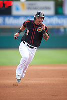 Rochester Red Wings designated hitter Byung Ho Park (7) running the bases during a game against the Norfolk Tides on July 17, 2016 at Frontier Field in Rochester, New York.  Rochester defeated Norfolk 3-2.  (Mike Janes/Four Seam Images)