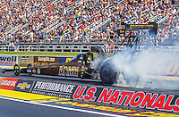 Sep 5, 2016; Clermont, IN, USA; NHRA top fuel driver Tony Schumacher during the US Nationals at Lucas Oil Raceway. Mandatory Credit: Mark J. Rebilas-USA TODAY Sports