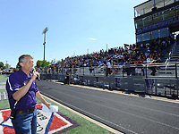 NWA Democrat-Gazette/ANDY SHUPE<br /> Chad Scott, principal of Fayetteville High School, speaks Friday, May 5, 2017, during the ninth annual Moving Up ceremony at Harmon Stadium at the school. After recognitions for group and team achievements, seniors are given the opportunity to speak to their teachers as they leave the school for the final time. Members of the freshman, sophomore and junior classes then move up ceremoniously to the next grade level.