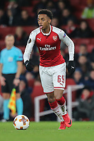 Joe Willock of Arsenal during the UEFA Europa League match between Arsenal and FC BATE Borisov  at the Emirates Stadium, London, England on 7 December 2017. Photo by David Horn.