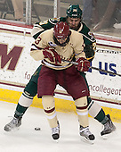 Johnny Gaudreau (BC - 13), Caylen Walls (UVM - 26) - The Boston College Eagles defeated the visiting University of Vermont Catamounts to sweep their quarterfinal matchup on Saturday, March 16, 2013, at Kelley Rink in Conte Forum in Chestnut Hill, Massachusetts.