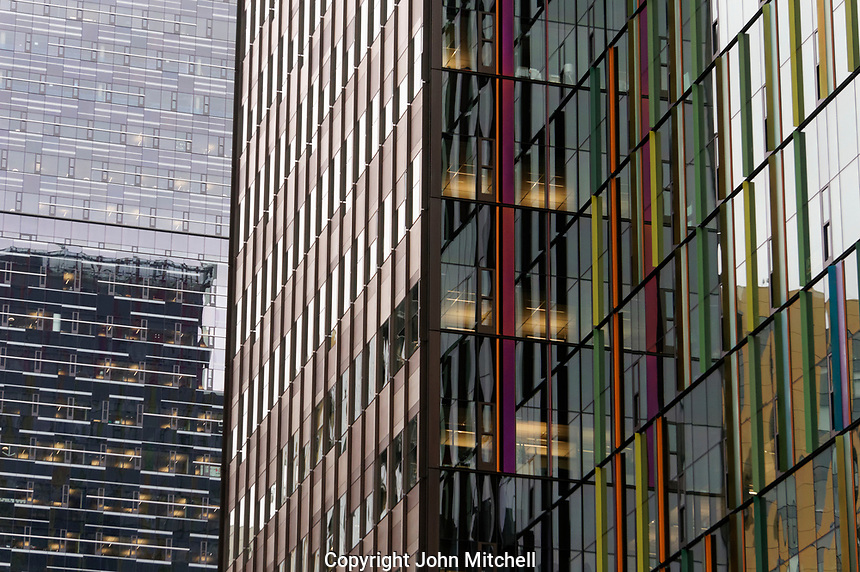 Close-up of glass and steel facades of skyscrapers  in downtown Seattle, Washington, USA
