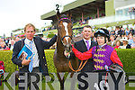 Her Majesty the Queen horse Four Winds with jockey Jamie Spencer trainer Michael Bell and handler Matthew Morgan in the parade ring after been beaten by Aidan O'Brien horse Poet in the Vincent O'Brien Ruby stakes at the Killarney Races on Tuesday
