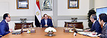 Egyptian President Abdel Fattah el-Sisi, meets with Mostafa Madbouly, Prime Minister, and Amr Talaat, Minister of Communications and Information Technology, in Cairo, Egypt on March 10, 2020. Photo by Egyptian President Office