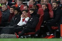 Mesut Ozil of Arsenal shows his frustration after being substituted in the second half during Arsenal vs Napoli, UEFA Europa League Football at the Emirates Stadium on 11th April 2019