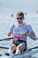 Brandenburg. GERMANY. GBR LM1X. Jamie KIRKWOOD.<br /> 2016 European Rowing Championships at the Regattastrecke Beetzsee<br /> <br /> Friday  06/05/2016<br /> <br /> [Mandatory Credit; Peter SPURRIER/Intersport-images]
