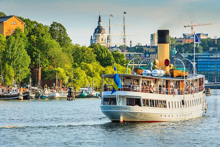 Ångbåten Blidösund vid Skeppsholmen iStockholm. / Steamboat Blidösund at Skeppsholmen in Stockholm Sweden.