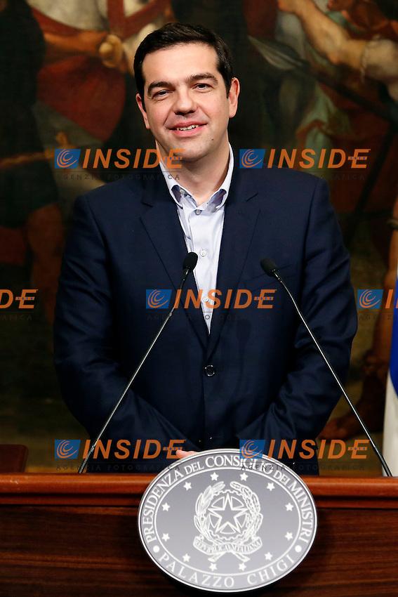 Alexis Tsipras<br /> Roma 03-02-2015 Palazzo Chigi. Il Presidente del Consiglio incontra il Primo Ministro greco.<br /> Italian premier meets greek Prime Minister.<br /> Photo Samantha Zucchi Insidefoto