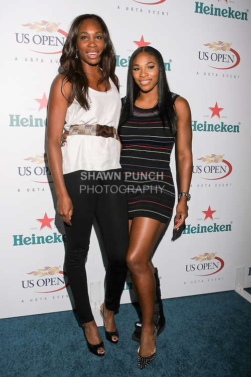 Venus Williams and Serena Williams arrive at the US Open Player Party at The Empire Hotel, August 27, 2010.