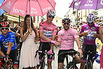 Actor and racing driver Patrick Dempsey guest of BMC Racing Team pictured with race leader Bob Jungels (LUX)  Quick-Step Floors before the start of Stage 7 of the 100th edition of the Giro d'Italia 2017, running 224km from Castrovillari to Alberobello, Italy. 12th May 2017.<br /> Picture: LaPresse/Fabio Ferrari | Cyclefile<br /> <br /> <br /> All photos usage must carry mandatory copyright credit (&copy; Cyclefile | LaPresse/Fabio Ferrari)