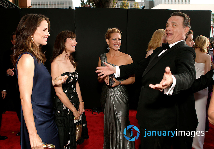 LOS ANGELES, CA - JULY 09:  Actress Jennifer Garner, guest, actress Maria Bello and actor Tom Hanks arrive at the 2011 BAFTA Brits To Watch Event at the Belasco Theatre on July 9, 2011 in Los Angeles, California.  (Photo by Todd Williamson/WireImage)