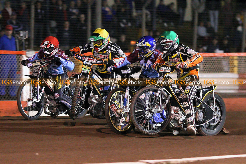 Heat 3: Davidsson (blue), Klindt (green), Woffinden (yellow) and Shields off the start - Lakeside Hammers vs Wolverhampton Wolves - Sky Sports Elite League Play-Off Semi-Final Second Leg at Arena Essex Raceway - 28/09/09 - MANDATORY CREDIT: Gavin Ellis/TGSPHOTO - Self billing applies where appropriate - Tel: 0845 094 6026