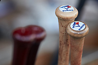 Baseball bats belonging to Buffalo Bisons third baseman Andy Burns (not pictured) sit in the bat wrack during the game against the Caballeros de Charlotte at BB&T BallPark on July 23, 2019 in Charlotte, North Carolina. The Bisons defeated the Caballeros 8-1. (Brian Westerholt/Four Seam Images)