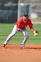 March 18, 2010:  Shortstop Ryan Dent of the Boston Red Sox organization during Spring Training at Ft.  Myers Training Complex in Fort Myers, FL.  Photo By Mike Janes/Four Seam Images