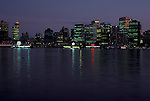 Vancouver downtown skyline evening, night reflections<br />  Vancouver, British Columbia