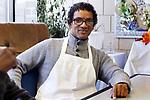 WATERBURY CT. 17 October 2017-101717SV07-Kassene Taylor, of Waterbury works at the Mount Olive Senior Center in Waterbury Tuesday. <br /> Steven Valenti Republican-American