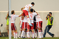 Dane Richards (19) of the New York Red Bulls celebrates scoring with teammates during a Major League Soccer (MLS) match against the San Jose Earthquakes at Red Bull Arena in Harrison, NJ, on August 28, 2010.