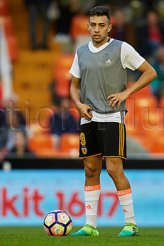 April 26th 2017, Mestalla Stadium, Valencia, Spain, La Liga football, Valencia CF versus Real Sociedad; Munir El Haddad of Valencia CF looks on prior to the game;