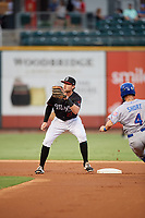 Birmingham Barons second baseman Trey Michalczewski (27) waits to receive a throw as Zack Short (4) slides into second base during a game against the Tennessee Smokies on August 16, 2018 at Regions FIeld in Birmingham, Alabama.  Tennessee defeated Birmingham 11-1.  (Mike Janes/Four Seam Images)