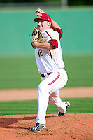 Boston College Eagles pitcher John Gorman (12) during a game versus the Hartford Hawks at Pellagrini Diamond at Shea Field on May 9, 2015 in Chestnut Hill, Massachusetts. (Ken Babbitt/Four Seam Images)