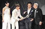 "Nanao,  Byung-hun Lee, Jon M. Chu and Joe Shishido, May 27, 2013 : Tokyo, Japan : (L-R)Japanese model Nanao, actor Byung hun Lee, director Jon M. Chu and Japanese actor Joe Shishido attend the Japan premiere for the film ""G.I.Joe:Retaliation"" in Tokyo, Japan, on May 27, 2013. The film will open on June 7 in Japan. (Photo by Keizo Mori/AFLO)"