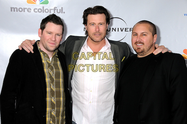 "BILL HORN, DEAN McDERMOTT & SCOUT MASTERSON.The Cable Show 2010 ""An Evening with NBC Universal"" held at Universal Studios Hollywood, Universal City, California, USA..May 12th, 2010.half length black jacket yellow brown check shirt facial hair stubble white arms over shoulders.CAP/ADM/BP.©Byron Purvis/AdMedia/Capital Pictures."