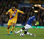 Jason Puncheon of Crystal Palace tackled by Idriss Gueye of Everton during the Premier League match at Goodison Park Stadium, Liverpool. Picture date: September 30th, 2016. Pic Simon Bellis/Sportimage