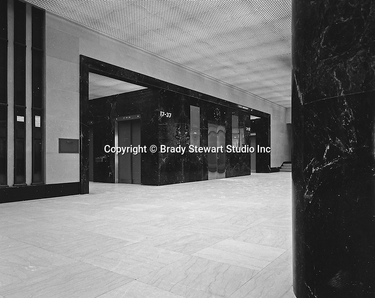 Pittsburgh PA:  The Grant Building, First Floor Elevator Bank - 1968