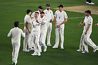 James Anderson celebrates the dismissal of Taylor with team mates.<br /> New Zealand Blackcaps v England. 1st day/night test match. Eden Park, Auckland, New Zealand. Day 1, Thursday 22 March 2018. &copy; Copyright Photo: Andrew Cornaga / www.Photosport.nz