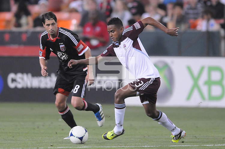Colorado Rapids midfielder Jaime Castrillon (23) shields the ball from D.C. United midfielder Branko Boskovic (8) D.C. United defeated the Colorado Rapids 2-0 at RFK Stadium, Wednesday May 16, 2012.