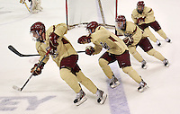 Chestnut Hill, MA  - It was a scene reminiscent of a short track skating race as as BC Hockey gets ready for its appearance in the Frozen Four at a practice at Kelly Rink at Conte Forum on Wednesday, March 28, 2012.