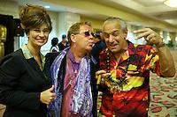 Sarah Palin, Elton John and Robert De Niro impersonators pose for photos