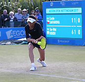 June 15th 2017, Nottingham, England;WTA Aegon Nottingham Open Tennis Tournament day 6;  Low backhand from Su-Wei Hsieh of Taipei in her match against Lucie Safarova of Czech Republic