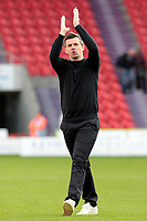 Fleetwood Town manager Joey Barton applauds the travelling fans at the final whistle<br /> <br /> Photographer David Shipman/CameraSport<br /> <br /> The EFL Sky Bet League One - Doncaster Rovers v Fleetwood Town - Saturday 6th October 2018 - Keepmoat Stadium - Doncaster<br /> <br /> World Copyright © 2018 CameraSport. All rights reserved. 43 Linden Ave. Countesthorpe. Leicester. England. LE8 5PG - Tel: +44 (0) 116 277 4147 - admin@camerasport.com - www.camerasport.com