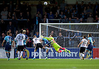 Goalkeeper Scott Brown of Wycombe Wanderers makes a save during the Carabao Cup match between Wycombe Wanderers and Fulham at Adams Park, High Wycombe, England on 8 August 2017. Photo by Alan  Stanford / PRiME Media Images.