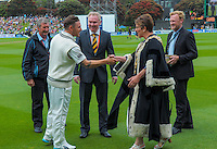 Wellington mayor Celia Wade-Brown presents Brendon McCullum with the key to the city during day one of the 2nd cricket test match between the New Zealand Black Caps and Sri Lanka at the Hawkins Basin Reserve, Wellington, New Zealand on Saturday, 3 February 2015. Photo: Dave Lintott / lintottphoto.co.nz