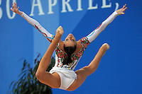 Anna Bessonova of Ukraine performs split leap with ribbon at 2009 Pesaro World Cup on May 1, 2009 at Pesaro, Italy.  Photo by Tom Theobald.