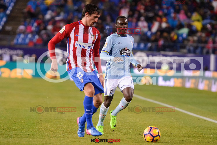 Atletico de Madrid's Stefan Savic and Celta de Vigo's Pione Sisto during La Liga match between Atletico de Madrid and Celta de Vigol at Vicente Calderon Stadium in Madrid, Spain. December 03, 2016. (ALTERPHOTOS/BorjaB.Hojas)