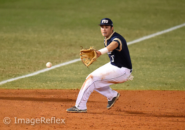 Florida International University infielder Austin Rodriguez (5) plays against  Manhattan College. FIU won the game 6-0 on March 11, 2016 at Miami, Florida.