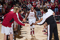 Stanford's Chiney Ogwumike, drive the ball past Long Beach States's Mary Ochiltree during Saturday, November 25, 2012 game at Stanford against Long Beach State.. Stanford won 77-41.