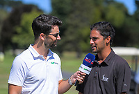 Sky's Andrew Wright interviews NZ Golf's Jason Gulasekharam. Final day of the Jennian Homes Charles Tour / Brian Green Property Group New Zealand Super 6s at Manawatu Golf Club in Palmerston North, New Zealand on Sunday, 8 March 2020. Photo: Dave Lintott / lintottphoto.co.nz