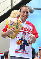 NEW YORK, NY - July 05: Joey Chestnut at NBC's Today Show to talk about his win in downing  71 hot dogs and Miki Sudo's win with downing 31 hot dogs at the 2019 Nathan's Hot Dog Eating Contest in New York City on July 05, 2019. <br /> CAP/MPI/RW<br /> ©RW/MPI/Capital Pictures
