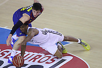 16.06.2013 Barcelona, Spain. Liga Endesa . Playoff game 4 Picture show Rabaseda and Darder in action during game between FC Barcelona against Real Madrid at Palau Blaugrana