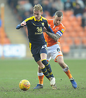 Oxford United's Mark Sykes under pressure from Blackpool's Jay Spearing<br /> <br /> Photographer Kevin Barnes/CameraSport<br /> <br /> The EFL Sky Bet League One - Blackpool v Oxford United - Saturday 23rd February 2019 - Bloomfield Road - Blackpool<br /> <br /> World Copyright © 2019 CameraSport. All rights reserved. 43 Linden Ave. Countesthorpe. Leicester. England. LE8 5PG - Tel: +44 (0) 116 277 4147 - admin@camerasport.com - www.camerasport.com