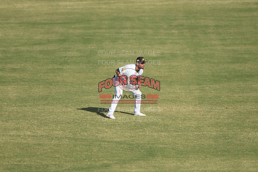 Mesa Solar Sox center fielder Luis Barrera (7), of the Oakland Athletics organization, during an Arizona Fall League game against the Peoria Javelinas at Sloan Park on October 24, 2018 in Mesa, Arizona. Mesa defeated Peoria 4-3. (Zachary Lucy/Four Seam Images)