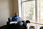 February 23, 2015. Durham, North Carolina.<br /> Ari Zadok, a 2nd year student, studies on one of the lower levels of the J. Michael Goodson Law Library.<br />  The Duke University School of Law is considered one of the best law schools in the country.