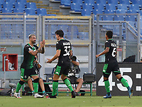 Football, Serie A: S.S. Lazio - Sassuolo, Olympic stadium, Rome, July 11, 2020. <br /> Sassuolo's Francesco Caputo (l) celebrates after scoring with his teammates during the Italian Serie A football match between S.S. Lazio and Sassuolo at Rome's Olympic stadium, Rome, on July 11, 2020. <br /> UPDATE IMAGES PRESS/Isabella Bonotto