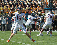 Virginia quarterback Matt Johns. The Pitt Panthers football team defeated the Virginia Cavaliers 26-19 on Saturday October 10, 2015 at Heinz Field, Pittsburgh, Pennsylvania.